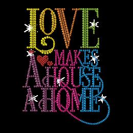 Love Makes a House a Home Rainbow Rhinestud Transfer