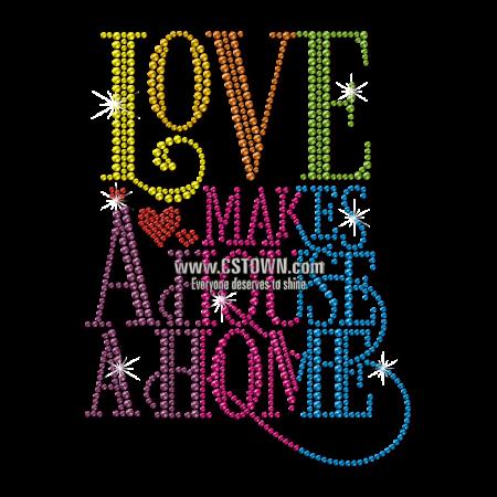 Love Makes a House a Home Rainbow Neon Stud Transfer