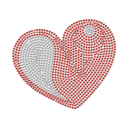 Bling Love Red Heart Rhinestud Transfer