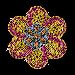 Vintage Orange Rhinestud Flower Motif Design