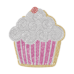 Custom Pink Rhinestud Cupcake in Good Size Transfer