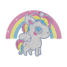 Cute Rainbow Unicorn Rhinestud Transfer