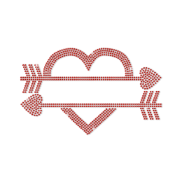 Romantic Red Heart Pierced by Arrows Rhinestone Transfer