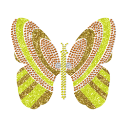 Bling Gold Glitter Butterfly Rhinestone Transfer