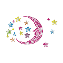 Sleep Tight Moon and Stars Accompany with You Neon Stud Transfer