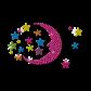 Sleep Tight Moon and Stars Accompany with You Neon Stud Transfer