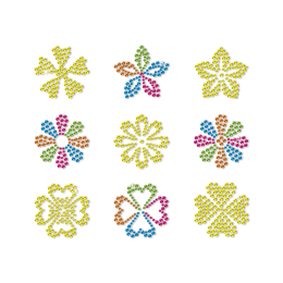 Gold and Rainbow Colored Little Flowers Stud Transfer