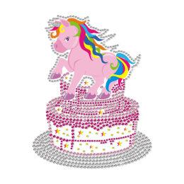 Bling Unicorn Birthday Cake Motif Heat Transfer for Little Princess