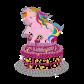 Bling Unicorn Birthday Cake Motif Heat Transfer for Little Princess