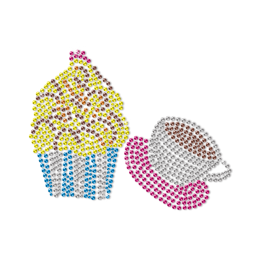 Cupcake and Coffee for Leisure Time Neon Stud Transfer