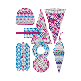I Love Fast Food Blue And Pink Neon Stud Transfer