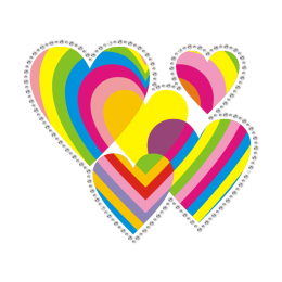 Rainbow Hearts Flares of Love Blast-Off Heat Transfer