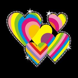 Rainbow Hearts Flares of Love Blast-Off Heat Transfer
