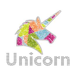 Unicorn Filled With Geometric Patterns Glitter Transfer