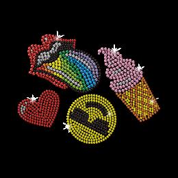 Lips Ice Cream Emoji And Heart Motifs Transfer