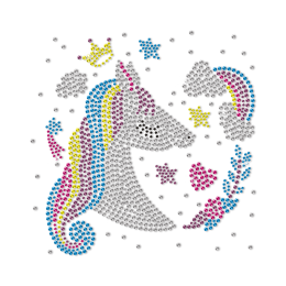 Unicorn Princess In Fantasy Garden Rhinestone Transfer