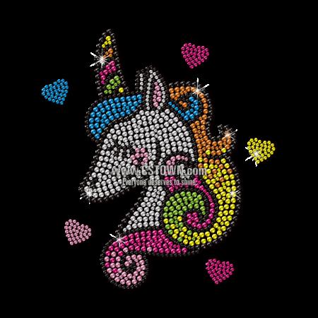 Custom Shy Unicorn for Girls Neon Stud Transfer