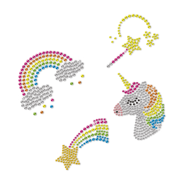 Rainbow And Unicorn Bling Rhinestone Hot Press Transfer