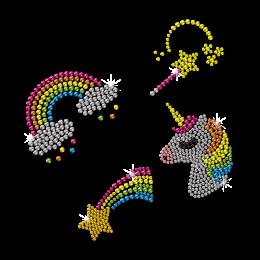 Rainbow And Unicorn Bling Rhinestone Hot Press Transfer