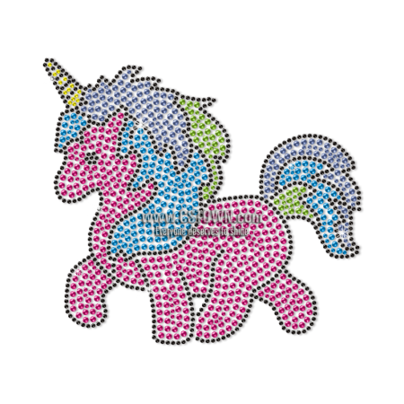Cute Unicorn Motif Neon Stud Transfer