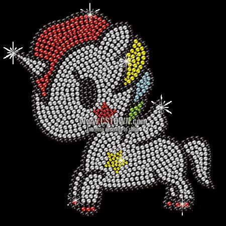 Crystal Little Unicorn Motif Rhinestone Transfer