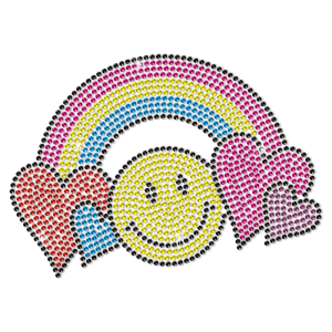 Love Rainbow And Smile Neon Rhinestud For Children