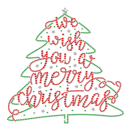 Custom Christmas Tree We Wish You a Merry Christmas Rhinestone Heat Transfer