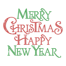 Wholesale Merry Christmas and Happy New Year Metal Rhinestud Transfer