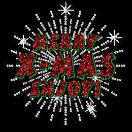 Custom Merry Christmas Enjoy Glitter Heat Transfer