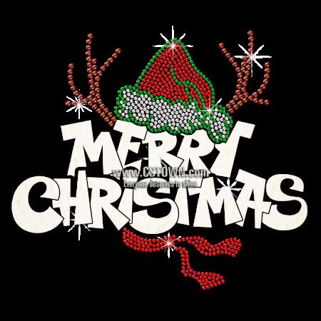 Wholesale Cartoon Reindeer Antlers Glitter Christmas Transfer