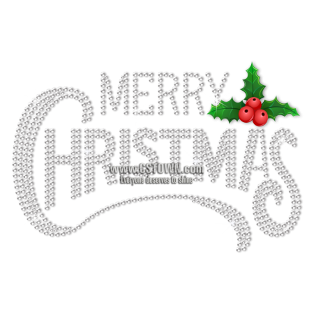 Wholesale Merry Christmas Rhinestone Bling Heat Transfer