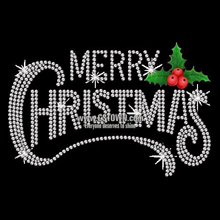 Wholesale Merry Christmas Rhinestone Bling Heat Transfer