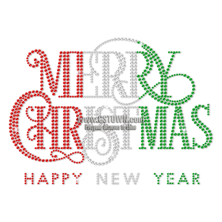 Custom Bling Merry Christmas and Happy New Year Rhinestuds Transfer