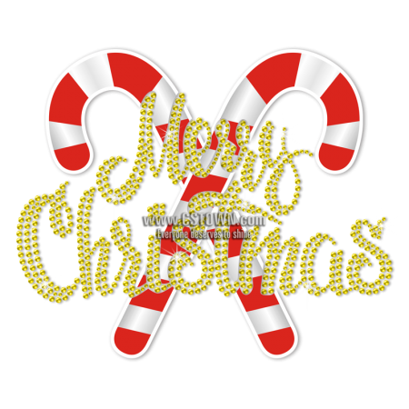 Custom Candy Cane Merry Christmas Heat Transfer