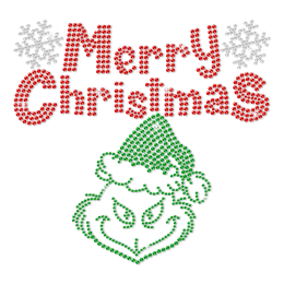Merry Christmas Metal Rhinestud Red and Green Design