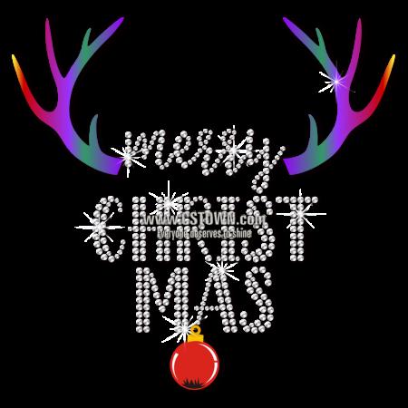 Christmas Themed Caribou Horn Metal Rhinestud Design