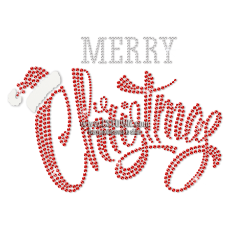 Red Rhinestone Merry Christmas with Little Hat Heat Transfer