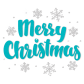 Wholesale Flock Blue Letters Merry Christmas with Crystal Snowflake Transfer