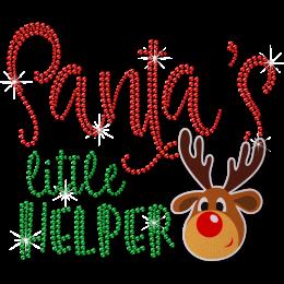 Custom Glitter Reindeer Metal Rhinestud Christmas Wishes Transfer