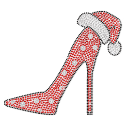 Bling Red High Heel with Christmas Hat Rhinestone Transfer