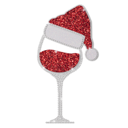 Wholesale Red Wine Glass for Christmas Glitter Heat Transfer