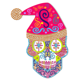 Neon Christmas Style Skull Head Special Rhinestud Transfer