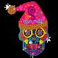 Neon Christmas Style Skull Head Special Rhinestud Transfer