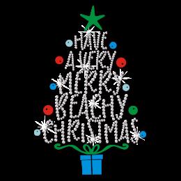 Have A Very Merry Beachy Christmas Bling Rhinestone Transfer
