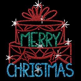 Big Cake Merry Christmas Glitter and Rhinestone Transfer