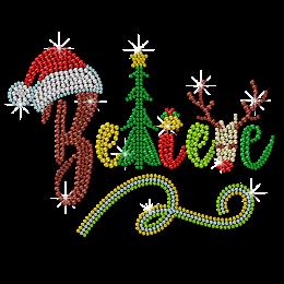 Bling Christmas Style Believe Rhinestone Transfer