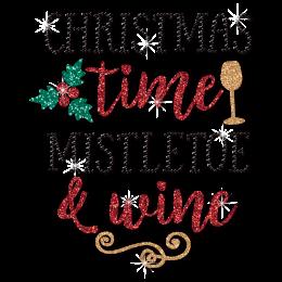 Christmas Time Mistletoe and Wine Glitter Transfer