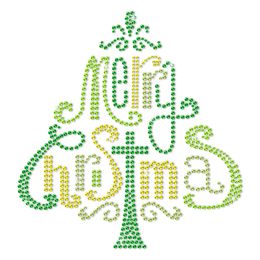 Green Christmas Tree Formed By Words Bling Rhinestone Transfer