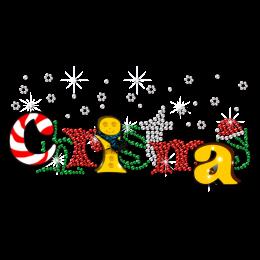 Christmas With Snow Beautiful Word Theme Rhinestone Transfer