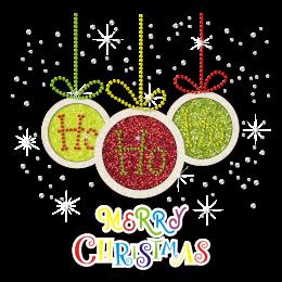 Ho Ho Ho Merry Christmas Bling Glitter Festival Transfer